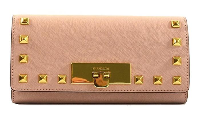 fc5af45549d379 Michael Kors Callie Stud Saffiano Leather Carryall Wallet | Groupon