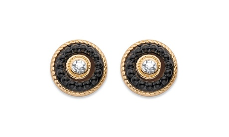 "Round Crystal and Black Beaded 14k Gold-Plated Halo Button Earrings 8"" e9f0734e-af78-4dd2-8874-8b747144912e"