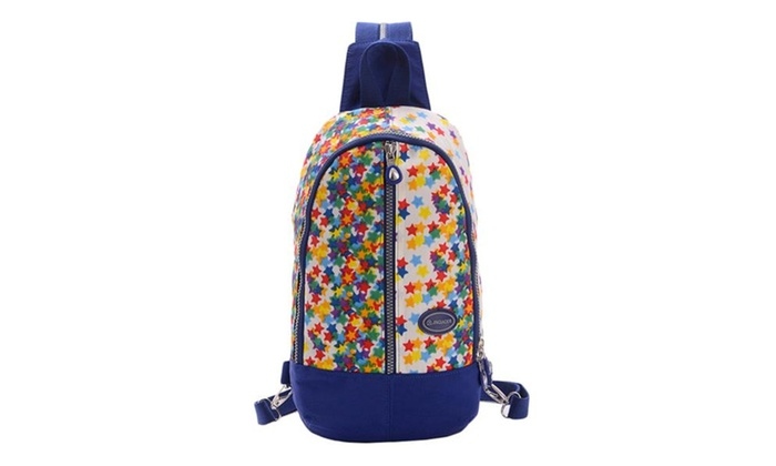 Nylon Flower Backpack With Zipper Colorful Shoulder Bags