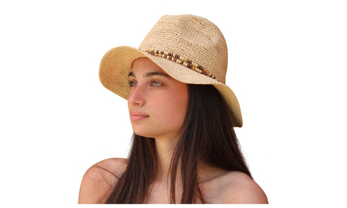 Palms & Sand Women's Raffia Fedora Sun Hat, Ladies Beach Hat (Natural