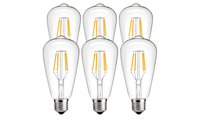 LuminWiz 4W ST64 Vintage Edison Light Bulb, SoftWarm, 6-Pack