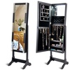 Mirrored Jewelry Cabinet Standing Armoire Organizer with LED Lights