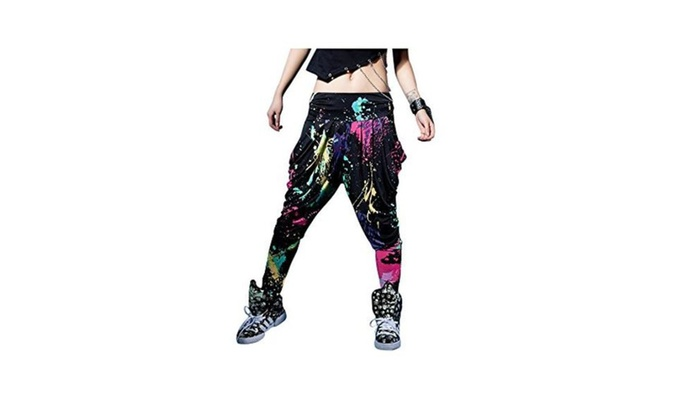 Candy Colors Casual Doodle Harem Hip Hop Dance Pants  - colour / One Size