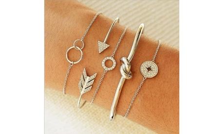 5pcs Simple Circle Diamond Knotted Arrow Opening  Chain Multi-layer Bracelet Set