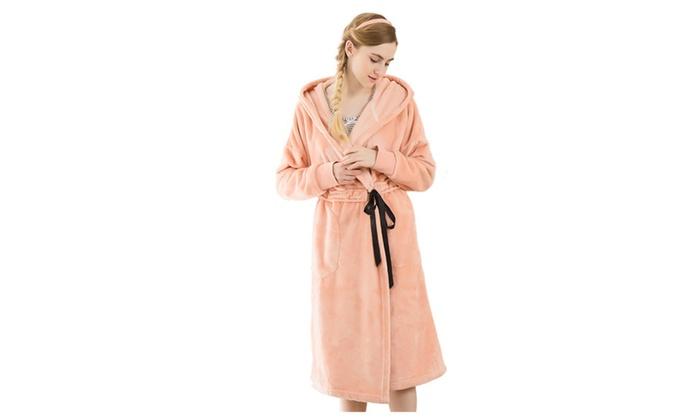 Women's Winter Fleece Pajama Hoodie Long Plush Bathrobe Spa Robe