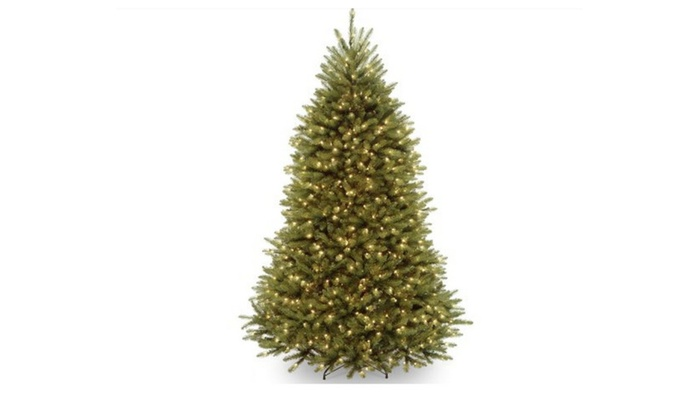 7266a0c8cdb9e Dunhill Fir Hinged Artificial Christmas Tree with 750 Clear Lights ...