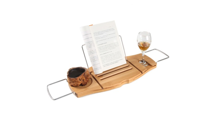 Bathtub Rack Bamboo Shelf Shower Tub Wine Book Holder Stand ...