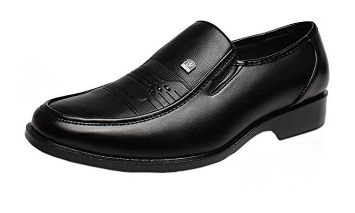 Men's Classic Slip On Loafer Dress Shoe with Apron Toe Black