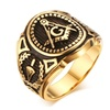 Vintage Gold Stainless Steel Punk Band Rings for Men