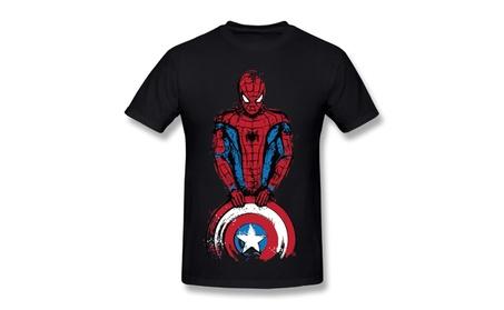 Men's The Spider Is Coming, Captain Spiderman T Shirt Black f277aa11-81da-4704-adb3-821992fbd982