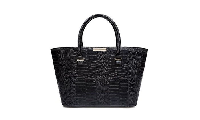 Mn&Sue Women Charming Tote Crocodile Embossed Pattern Leather Shoulder Bag Lady Satchel Handbag