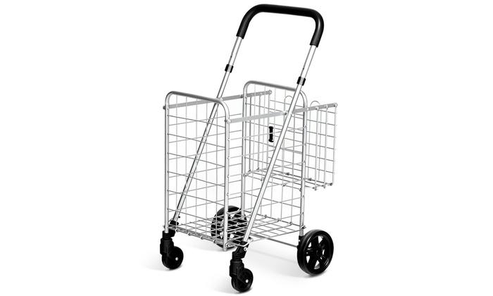 Trolley Foldable Shopping Portable Shopping Cart,Black