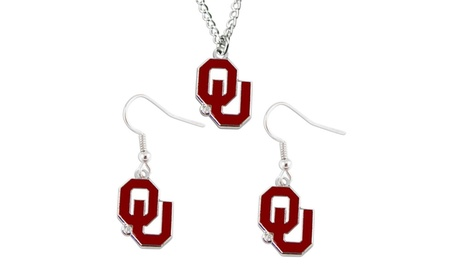 Oklahoma Sooners NCAA Necklace And Dangle Earring Set Charm 853d03c2-42f8-416e-a42e-e886d88231e6