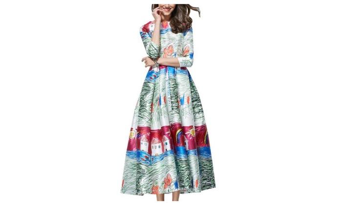 Women's Casual HiddenZipper 1/2 Sleeve High Rise Dresses