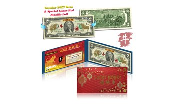 24KT GOLD 2021 Chinese New YEAR OF THE OX Two-Dollar BILL LTD & Numbered of 888