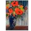 Sheila Golden Striped Wall with Red Flowers Canvas Print