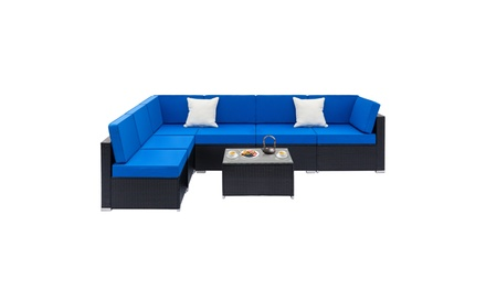 Fully Equipped Weaving Rattan Sofa Set Coffee Table Black Embossed