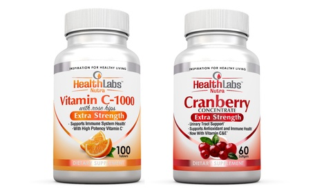 Health labs Nutra Vitamin C 1000 and Cranberry Supplement Bundle