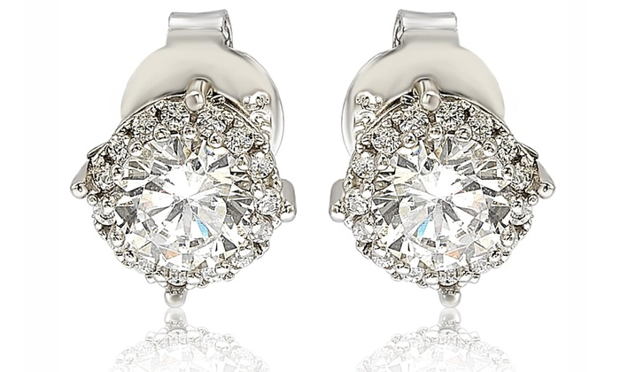 9596bb4ccae2a Suzy Levian Sterling Silver White Cubic Zirconia Round Stud Earrings ...