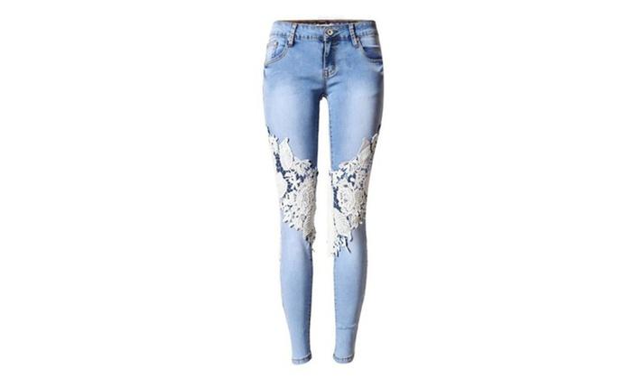 Women's Denim Light Blue Skinny Jeans Crochet Lace Party Jeans Pants