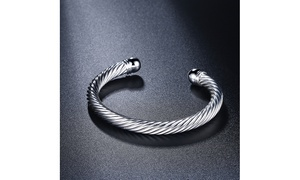 Sterling Silver Roman Inspired Classic Cuff Bangle