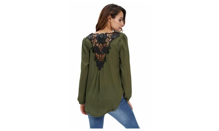 Women's Stylish Army Green Crochet Back Wrap Front Blouse