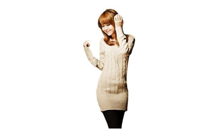 Biwinky Women V Neck Knit Stretchable Elasticity Long Sleeve Slim Sweater