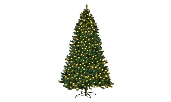 8ft pre lit pvc artificial christmas tree hinged w 430 led lights - 8 Ft Artificial Christmas Tree