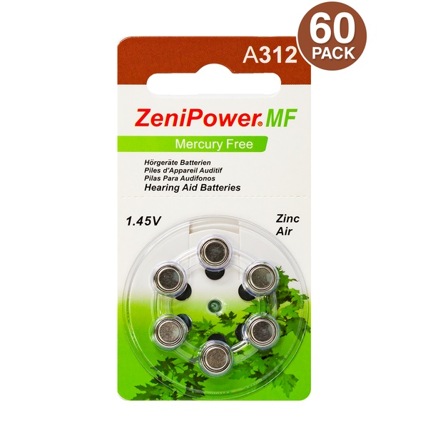 Zenipower size 13 Hearing Aid Batteries 60 count package