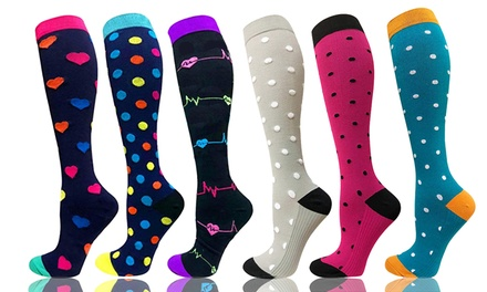 3-6 Pairs Compression Socks Knee-High Collection Stockings for Running Medical