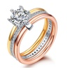3 Rounds Cubic Zirconia Paved Stacking Women's Ring