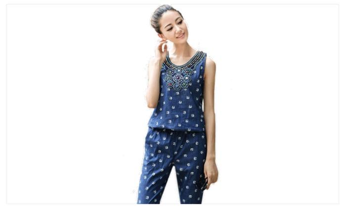 527a685201d6 Women s Casual Printed Piece Pants Denim Jumpsuits Trousers UWJ020 ...