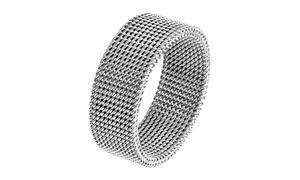 Men's Stainless Steel Mesh Flexible Ring - 8mm Wide