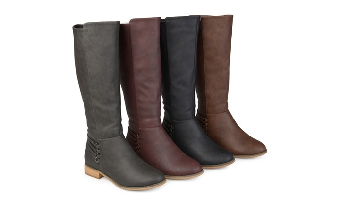 980ed240aee7 Journee Collection Womens Wide Calf Distressed D-ring Strap Riding Boots