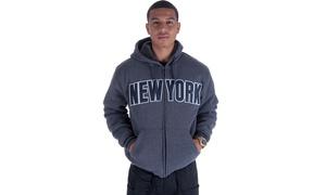 Men's Long Sleeve 'New York' Fleece Zip Hoody