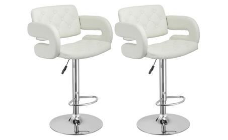 2 PU Leather Swivel Bar Stools Hydraulic Pub Chair Adjustable White 9975161e-e782-4c18-8791-f680b62fe7d0