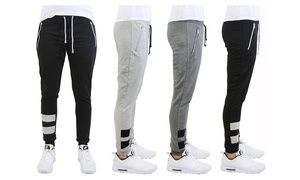 Men's Slim Fit French Terry Joggers with Zipper Pockets