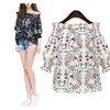 Women Striped Off The Shoulder Flower Embroidered Top  Chiffon Blouse