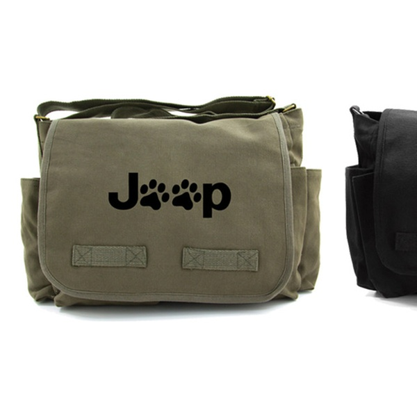 cc69f1294e Jeep Wrangler Paw Prints Heavyweight Canvas Messenger Bag | Groupon