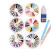 6 Pcs Nail Art Glitters Round Rhinestones Wheel 2 Spot Dott Pen Glue