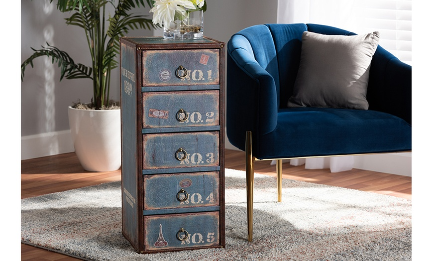 Alba Finished Wood 5 Drawer Accent Storage Chest Groupon