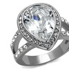 Women's 6.34 Ct Pear Cut Crystal Stainless Steel Halo Engagement Ring