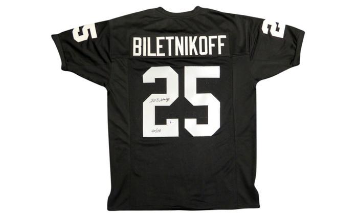 8fd1ec41b Autographed Fred Biletnikoff Oakland Raiders Black Custom Jersey ...