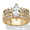 3.28 TCW Marquise-Cut Cubic Zirconia Engagement Ring 14k Gold-Plated