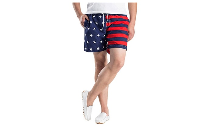 a733bf7b85 Mens American Flag Print Beach Swimwear Board Shorts Pants | Groupon