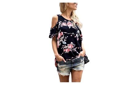 Women's Floral Print Cut Out Shoulder Short Sleeve T Shirt Blouse 9ff27374-d8c3-4d9e-b7e4-2651f86ecf48