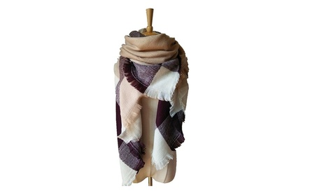 Women's Plaid Scarf Blanket Winter Pashmina Tartan Shawl Wrap b29fea0f-ae39-4f72-8778-0e49166ec8ad