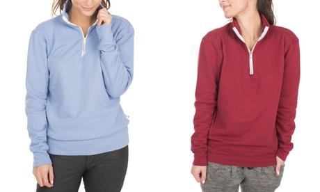 Venley Women's Boyfriend Fit Fleece 1/4 Zip Up 7ec0ce81-4f82-45e1-87ea-2751bb7b38fa