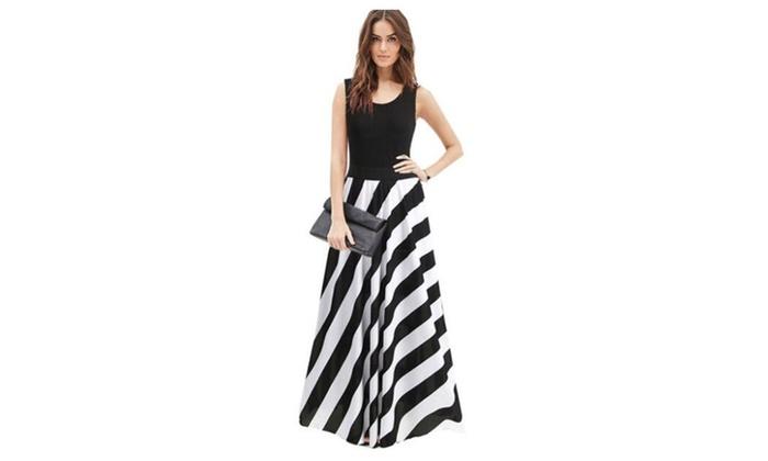 Summer dresses striped Print Long Dress  Beach  dress feminine