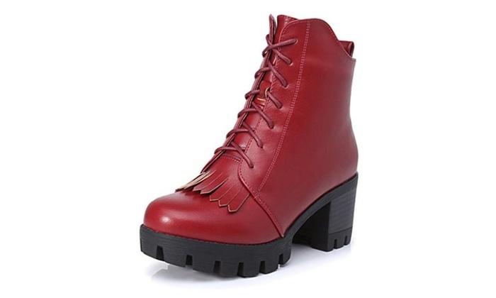 Women's Winter High heel thick heel Martin ankle boots